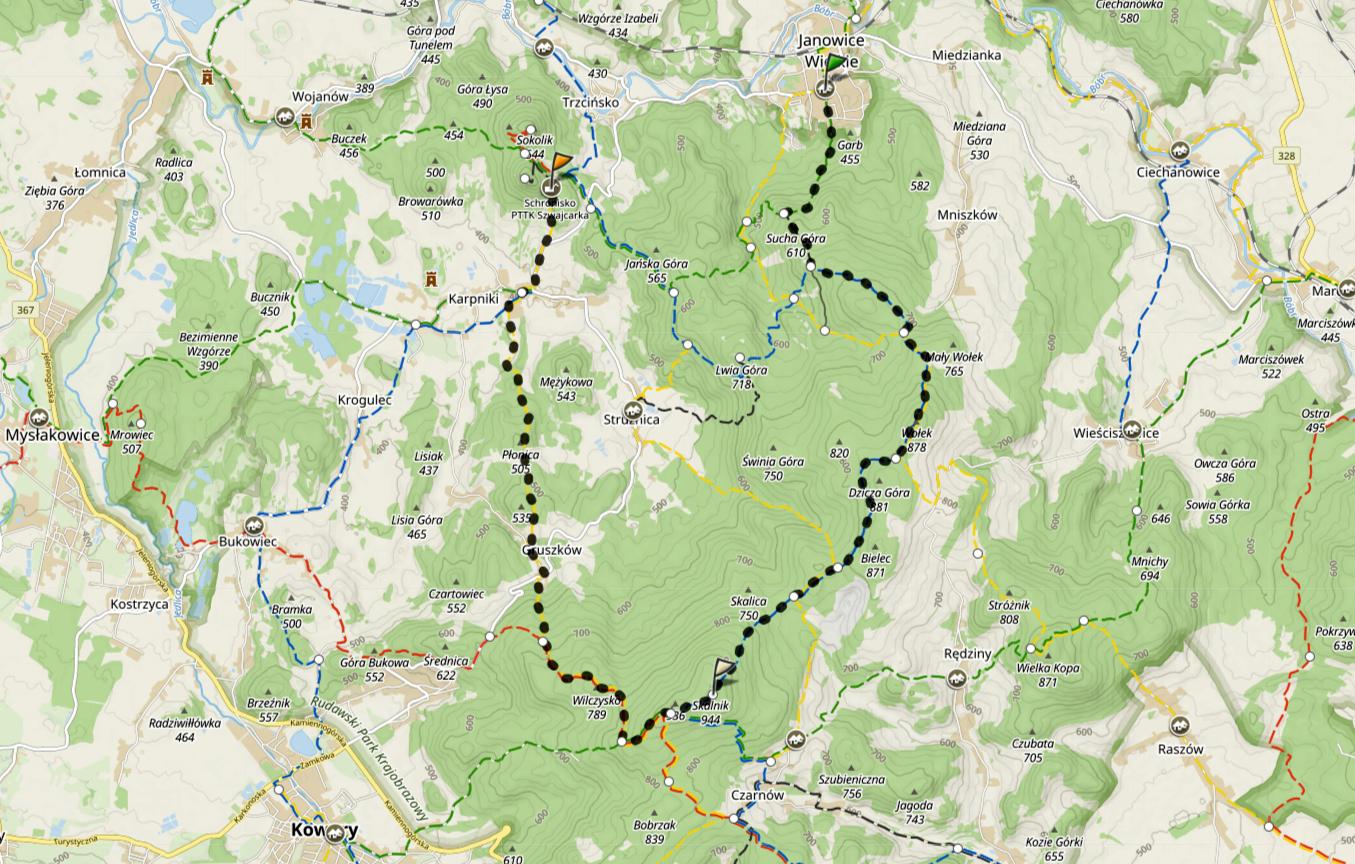Rudawy Janowickie trasa przez schronisko Szwajcarka na Skalnik