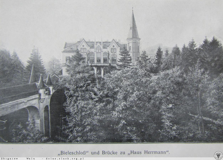 Sanatorium Hermnann oraz kryty most łączący je z drugim obiektem Landeck,1912-1914 r.