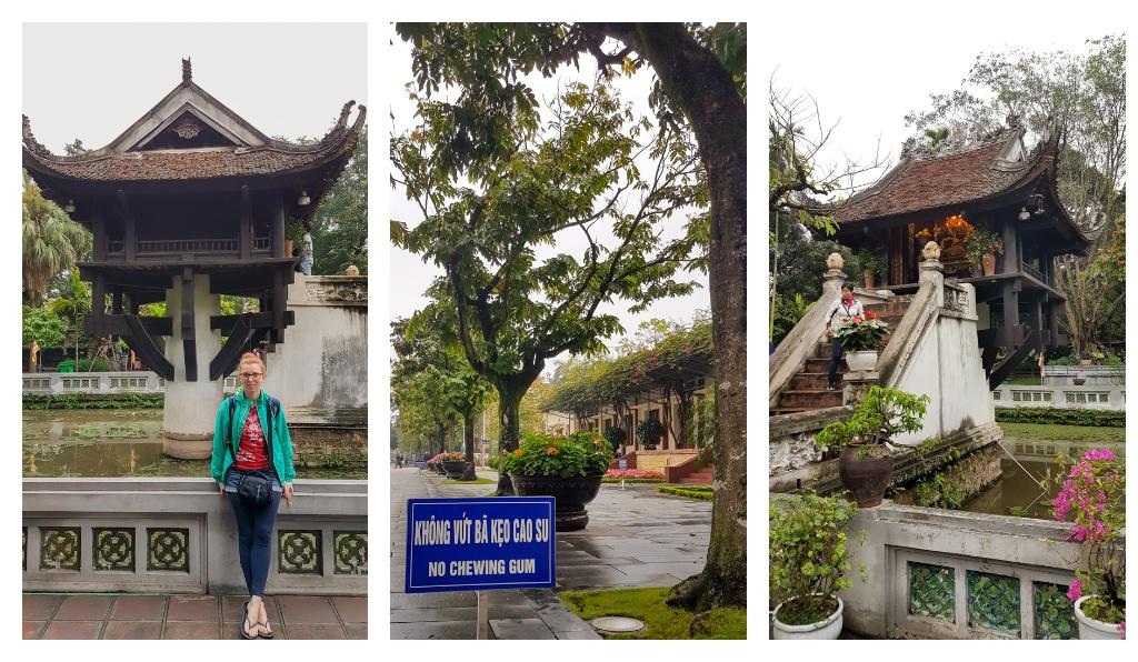 1) Pagoda jednej kolumny, 2) Zakaz żucia gumy na terenie placu wokół mauzoleum, Świątynia przy Pagodzie, marzec 2019 r.