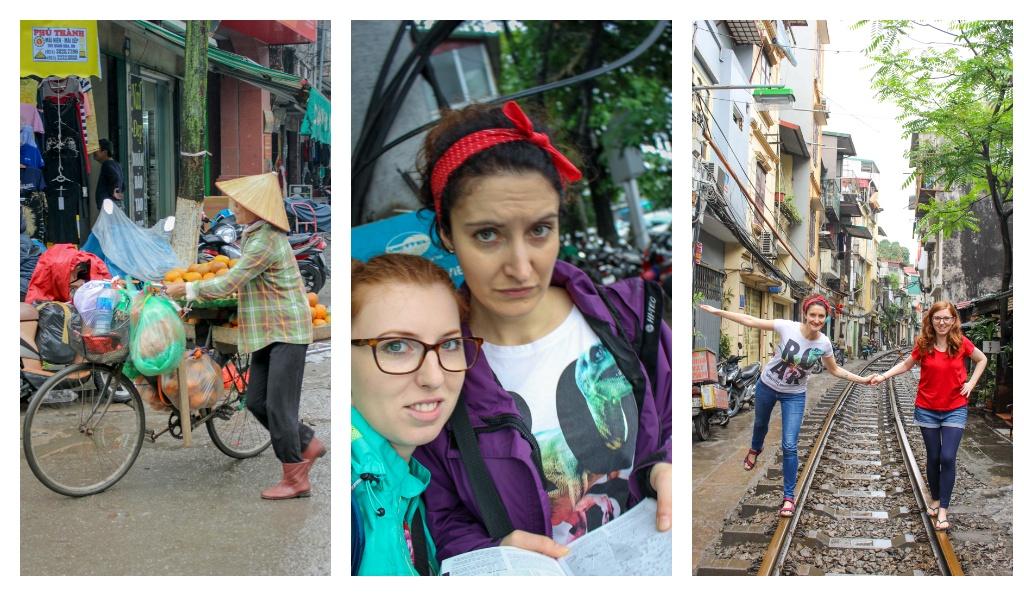 1) Typowy widok, Wietnamczycy w kapeluszach na rowerze, 2) Nasze miny po zobaczeniu psów w restauracji, 3) Train Street, Stolica Wietnamu, 2019 r.